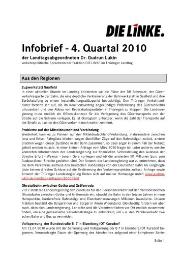 Infobrief - 4. Quartal 2010 - Dr. Gudrun Lukin