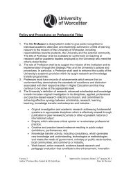 Policy and Procedures on Professorial Titles - University of Worcester