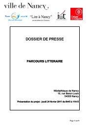 Parcours littéraire - Ville de Nancy
