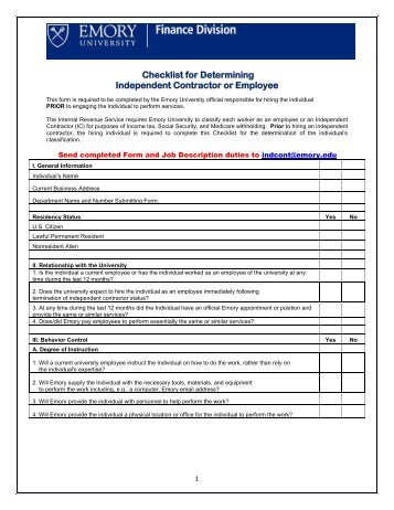 20 factor checklist to determine independent contractor vs