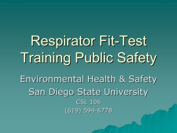 Respirator Fit-Test Training Public Safety - San Diego State University