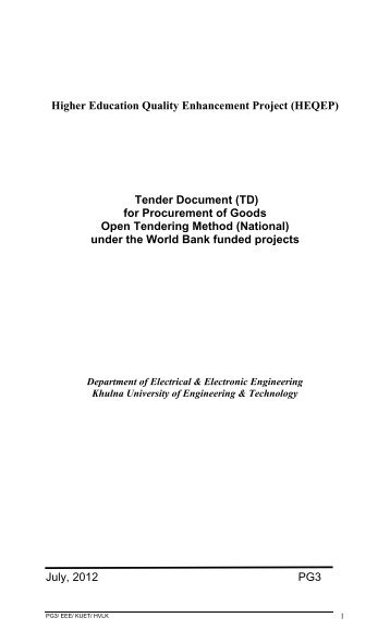 Tender Document - KUET
