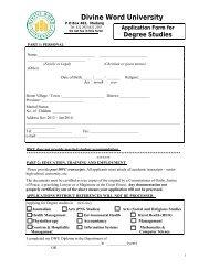 2014 degree application form - Divine Word University