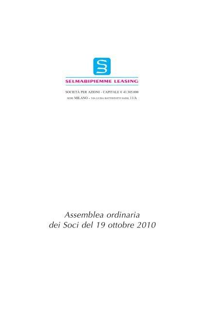 Assemblea ordinaria dei Soci del 19 ottobre 2010 - Assilea