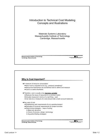Introduction to Technical Cost Modeling Concepts and Illustrations