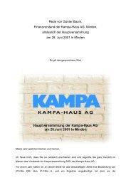 Rede von Herrn Baum anlässlich der ... - KAMPA AG