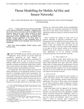 Threat Modelling for Mobile Ad Hoc and Sensor Networks - ITACS ...