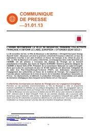 Notre communiqué du 31/01/2013 - ADEME presse