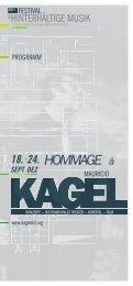 kagel-programmheft Din lang hoch-.indd - Saarländischer Rundfunk