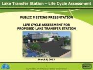 Lake Transfer Station – Life Cycle Assessment - Village of Round Lake