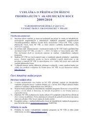 vyhláška o přijímacím řízení probíhajícím v akademickém roce