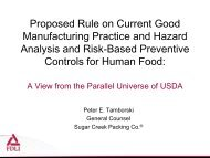 Proposed Rule on Current Good Manufacturing Practice and Hazard ...