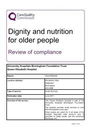 Queen Elizabeth Hospital – Dignity and nutrition report April 2011