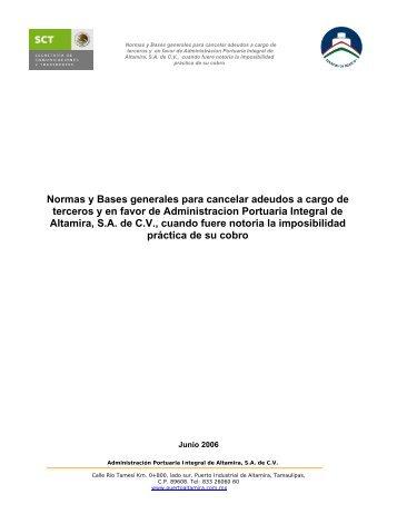 Normas y Bases generales para cancelar adeudos a cargo de ...