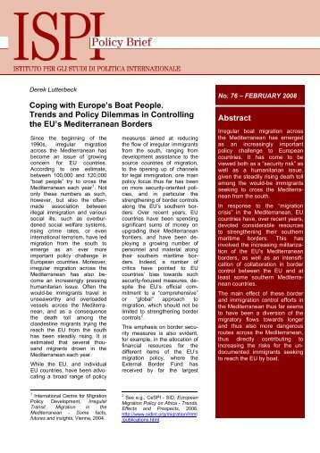 Abstract Coping with Europe's Boat People. Trends and Policy ... - Ispi