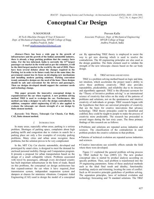 Conceptual Car Design Engineering Science And Technology An
