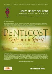 Tuesday June 1 - Holy Spirit College
