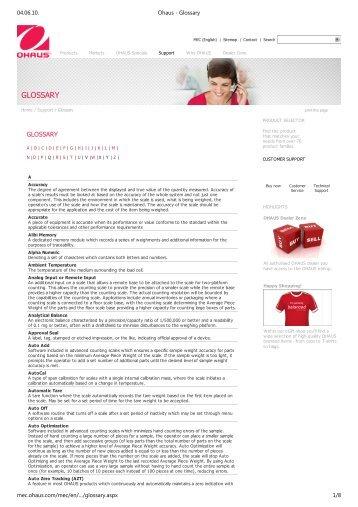 Ohaus - Glossary - MaRCo