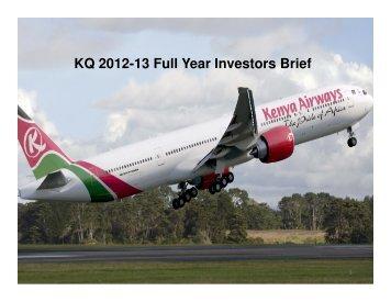 KQ 2012-13 Full Year Investors Brief - Kenya Airways