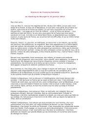 Discours de François Hollande au meeting du Bourget le 22 janvier ...