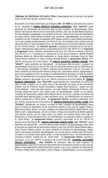 TRIBUNAL DE SENTENCIA DE SANTA TECLA; Departamento de ...
