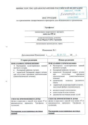 Изменение № 1 к инструкции по применению Урсофалька