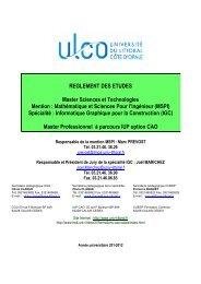 REGLEMENT DES ETUDES Master Sciences et Technologies…