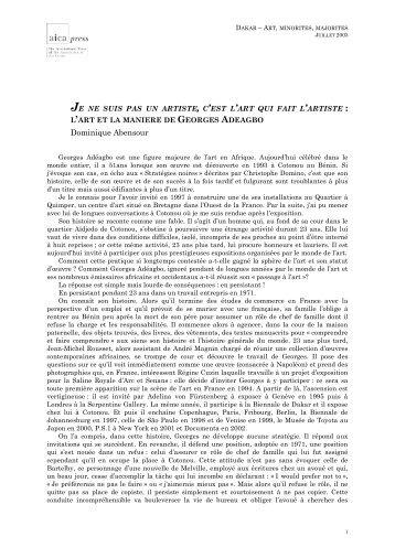 Dominique ABENSOUR - Â« Je ne suis pas un artiste, c'est l'art qui ...