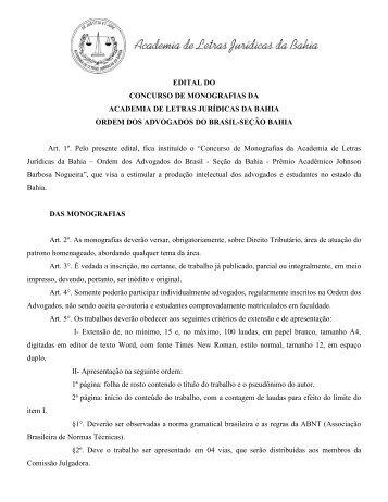 EDITAL DO CONCURSO DE MONOGRAFIAS DA ACADEMIA DE ...