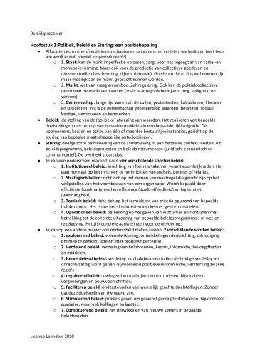 Hoofdstuk 1:Politiek, Beleid en Sturing: een positiebepaling