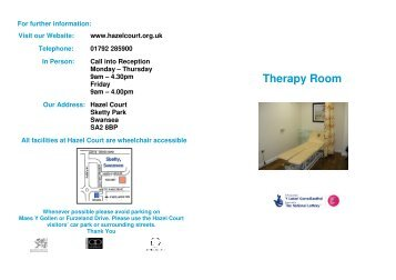 Booking the Therapy Room - Hazel Court