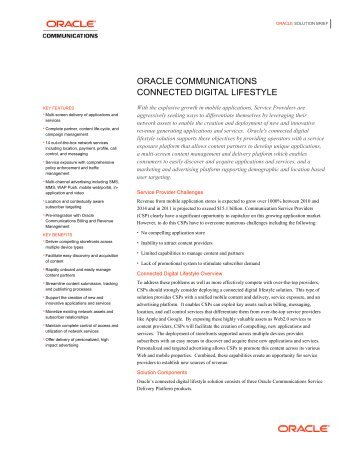 Brochure: Oracle Communications Connected Digital Lifestyle (PDF)