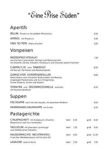 Aperitifs Vorspeisen Suppen Pastagerichte - gasthof klinger