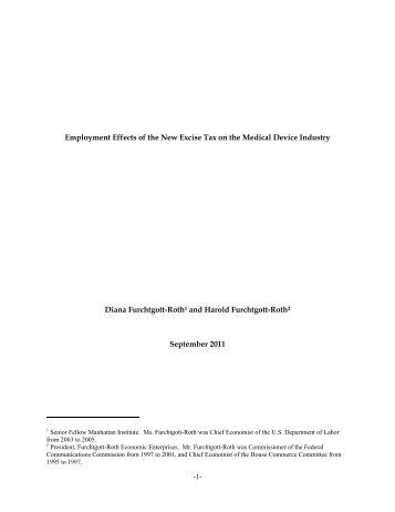 Employment Effects of the New Excise Tax on the Medical Device ...
