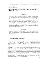 GENERALIZATION OF LAGUERRE GEOMETRY 1 Building the space