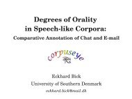 Degrees of Orality in Speechlike Corpora: Comparative ... - VISL