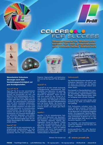 Produktprogramm wasserbasierte Siebdruckfarben - Pröll KG