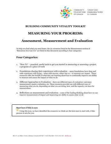 Assessment, Measurement and Evaluation - Community ...