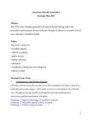 American Thyroid Association Strategic Plan 2012 Mission The ATA ...