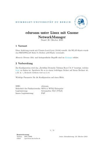 eduroam unter Linux mit Gnome NetworkManager