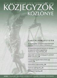 Közjegyzők közlönye 2011. 2. szám - Magyar Országos Közjegyzői ...