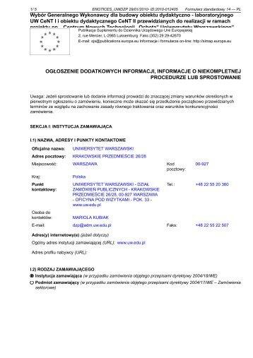 Informacje dodatkowe - Uniwersytet Warszawski