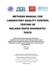 Methods Manual for Laboratory Quality Control Testing of Malaria ...