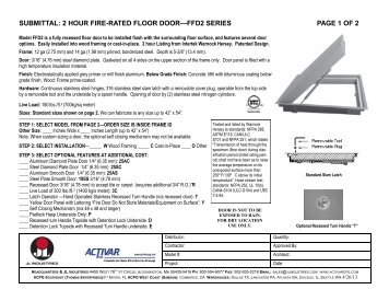 submittal: 2 hour fire-rated floor door—ffd2 series page 1 of 2