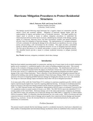 Hurricane Mitigation Procedures to Protect Residential Structures