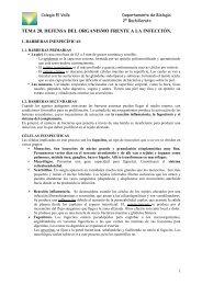 tema 20. defensa del organismo frente a la ... - Biología El Valle