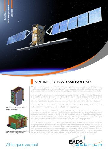 SENTINEL 1 C-BAND SAR PAYLOAD All the space you need