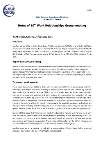 Notes of 10th Work Relationships Group meeting - Global Unions