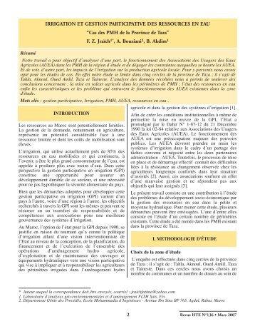 Irrigation et gestion participative des ressources en eau - anafide