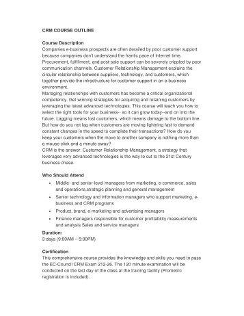 CRM COURSE OUTLINE Course Description Companies e - SSE